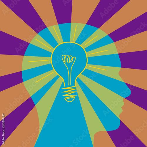 Fotografie, Obraz  vettoriale testa con lampadina eureka idea