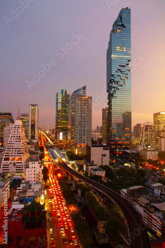 Aerial view Bangkok city metropolis skyline twilight sunset evening time night a Canvas Print