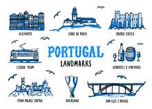 Portugal Landmarks Set. Handdrawn Sketch Style Vector Illustration