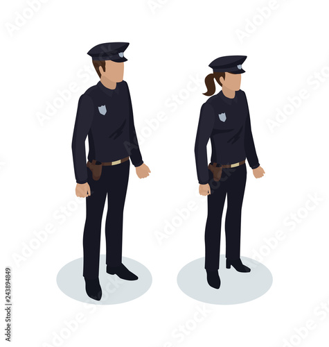 Fototapeta Policewoman and Policeman Vector Illustration