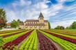 canvas print picture - Landwirtschaft am Bodensee - Salatanbau auf der Insel Reichenau, Georgskirche