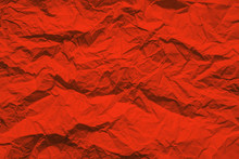 Crumpled Paper Texture, Deep Red Color  Background Mock Up