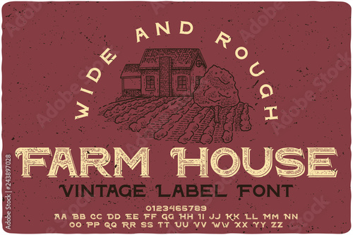 Fotografía  Vintage label typeface named Farm House