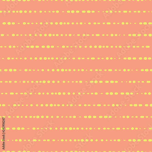 Fotografie, Obraz  Horizontal lines dotted yellow on coral pattern