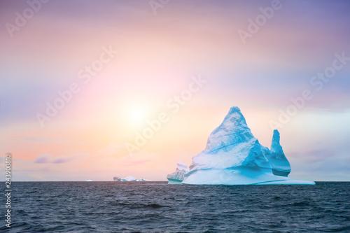 Beautiful iceberg in Ilulissat icefjord at sunset, Greenland