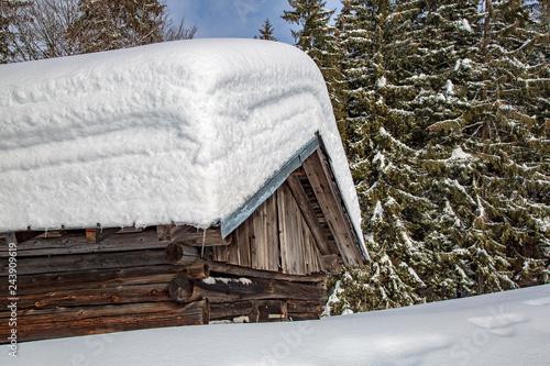 Fotografie, Obraz  Allgäu - Alpe - Hütte - Tiefschnee - eingeschneit - Pulverschnee - Winterwonderl