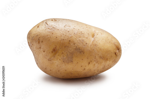 Fotografering Young potato isolated on white background