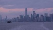 Manhattan Skyline and Cloudy Sky. New York City. View From the Water. Unites States of America. Panning Shot