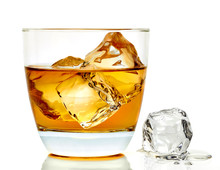 Whiskey With Ice Cubes In Rock...