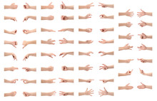 Rich Collection Of Various Hand Gestures, Isolated On White Background