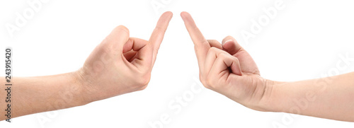 Fotografiet Hands showing rude gestures, isolated on white background