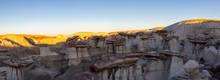 Panoramic Landscape View Of Unique Rock Formation In The Desert Of New Mexico, United States Of America.