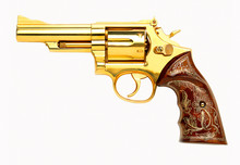 Antique Golden Revolver Gun On...