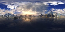 HDRI, Environment Map , Round Panorama, Spherical Panorama, Equidistant Projection, Panorama 360, Modern City At Sunrise In The Fog Over The Water, Skyscrapers At Sunset Over The Water