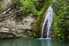 Waterfall In Natural Cave. Bath Of Aphrodite. Cyprus.