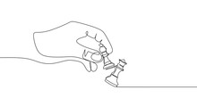 Pawn And Queen Chess Pieces Are Drawn By One Black Line On A White Background. Continuous Line Drawing. Vector Illustration.