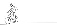 One Line Drawing Of A Bicycle Rider, A Man Riding A Bike With Helmet And Bag, Maybe He Want To Going To School Or Campus. Vector Illustration.
