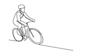 Continuous Line Drawing Biker ...