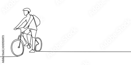 Foto One Line Drawing of a Bicycle rider, a man riding a bike with helmet and bag, maybe he want to going to school or campus