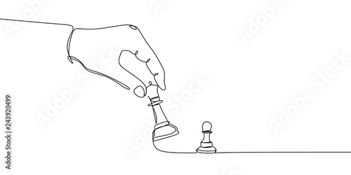 Pawn and bishop or queen chess pieces are drawn by one black line on a white background Fototapet