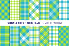 Blue And Lime Green Tartan And Buffalo Check Plaid Vector Patterns. Easter Or Spring Backgrounds. Hipster Lumberjack Flannel Shirt Fabric Textures. Pattern Tile Swatches Included.