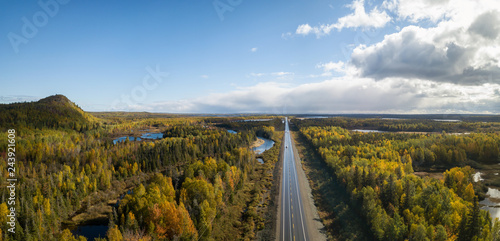 Foto auf Gartenposter Himmelblau Aerial panoramic view of a scenic road during a beautiful sunny day in the Autumn. Taken near Grand Falls-Windsor, Newfoundland, Canada.