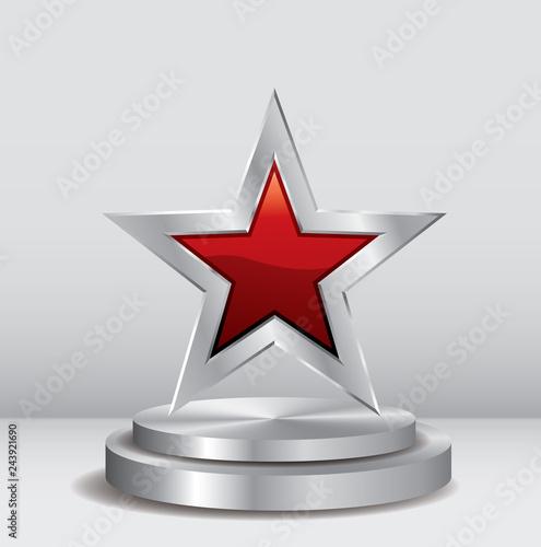 Photo  podium silver star red