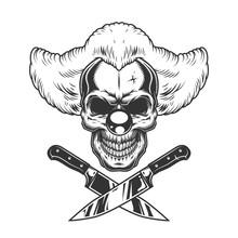 Vintage Monochrome Creepy Clown Skull