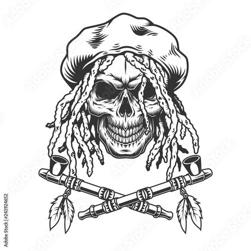Photo  Vintage monochrome rastaman skull