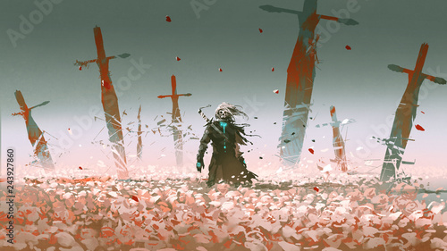 death knight standing alone in the rose field with big broken swords stuck into Fotobehang