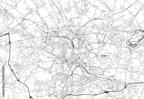 Area map of Krakow, Poland