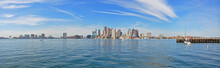 Boston Skyline And Custom House Panorama From East Boston, Massachusetts, USA.