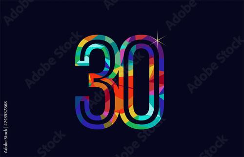 Papel de parede  rainbow colored number 30 logo company icon design