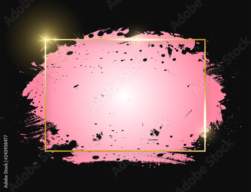 Fotografie, Obraz  Gold shiny glowing rectangle frame with pink brush strokes isolated on black background