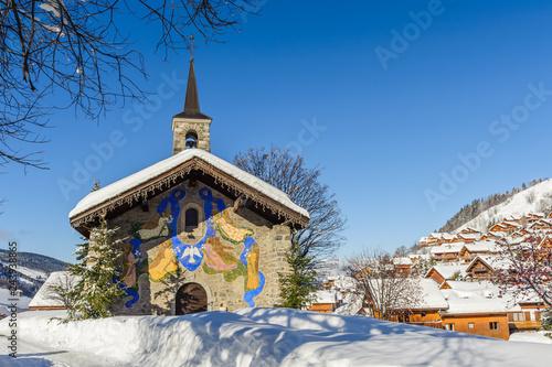 Vászonkép France, Savoie : La chapelle de Mussillon dans le village de Meribel
