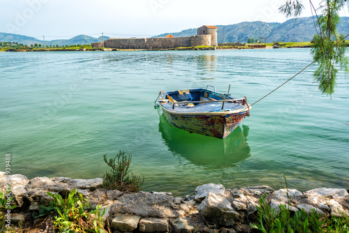 Boat and Castle in Butrint, Albania Canvas Print