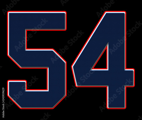 Fotografia  54 American Football, Baseball and Basketball Classic Vintage Sport Jersey Number in blue, white and red