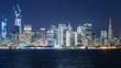Timelapse of Downtown San Francisco Skyline over Bay at Night -Long Shot-
