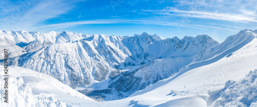 fototapeta na lodówkę Wide panoramic view of winter landscape with snow covered Alps in Seefeld in the Austrian state of Tyrol. Winter in Austria