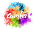 Zumba calligraphy on watercolor splash