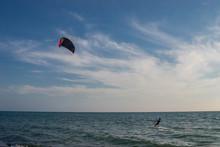 Kite Surfers Catch The Waves On The Windy Adriatic, Ulcinj, Montenegro.