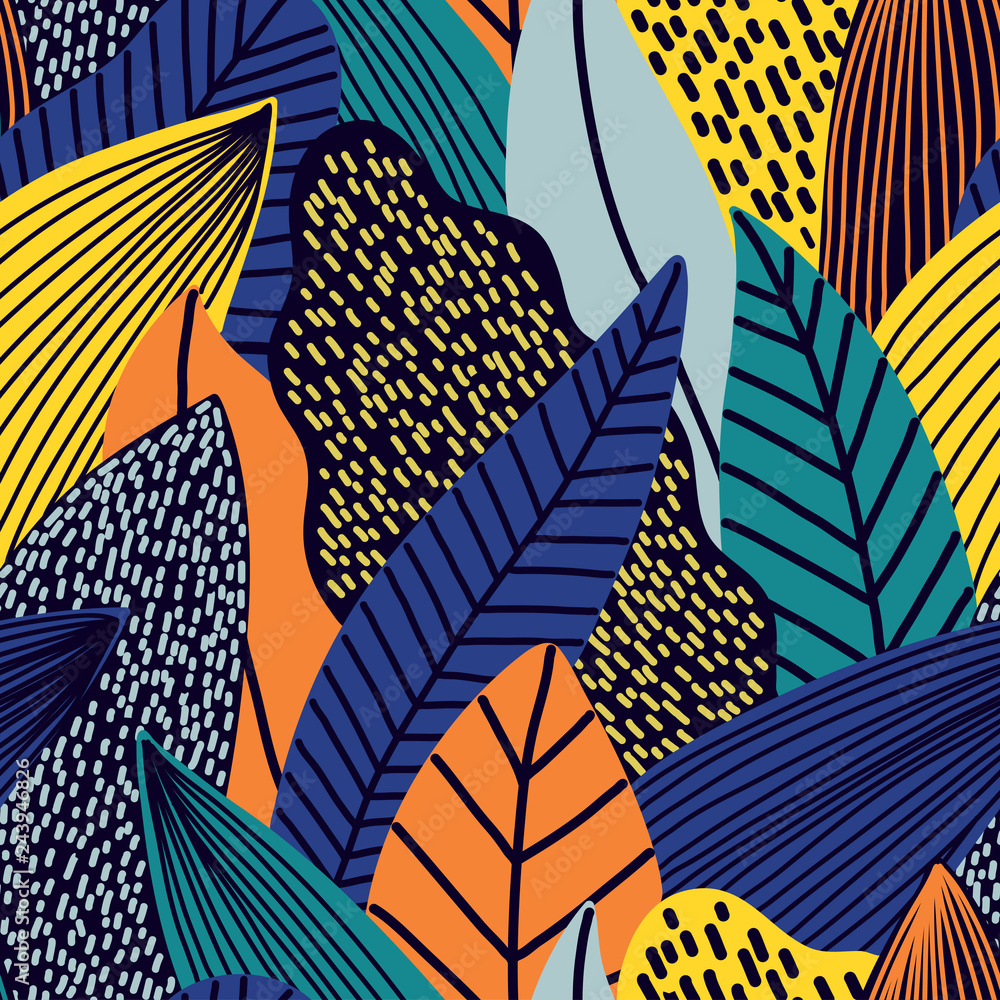 Fototapeta Colorful seamless pattern of tropical exotic leaves