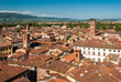 """Aerial view of Lucca, in Tuscany; the tower on the right is called """"Torre Guinigi"""""""