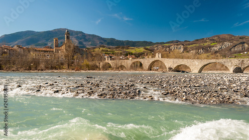 View of the old medieval bridge, called Ponte del Diavolo or Ponte Gobbo ove Canvas Print