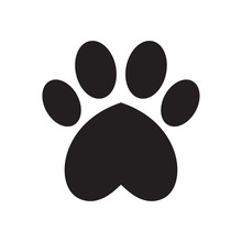 Animal's (dog's) Paw Print With Heart.