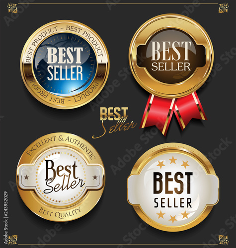 Fotografía  Collection of Elegant golden premium Editors choice labels