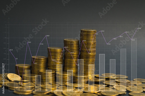 Cuadros en Lienzo Savings, increasing columns of coins, with financial graph, business banking concept