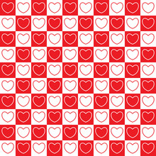 Checkered Pattern With Hearts