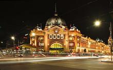 Melbourne's Flinders Street Railway Station At Night.