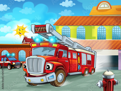 Foto op Canvas Cars cartoon firetruck driving out of fire station to action - different fireman vehicles - illustration for children